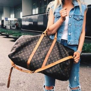 Auth Louis Vuitton Keepall 60 Bandouliere #2128L26